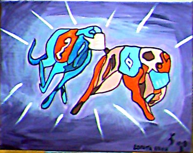 Greyhounds in race by Loretta Nash, acrylic on canvas