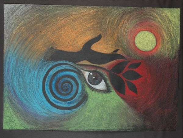 Dream by Mayuri Rajbonshi, Oil pastel on Hand made paper