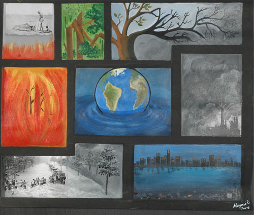 A global message by Mayuri Rajbonshi, Mix medium on Paper