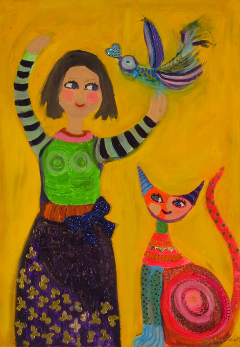 you are so spoiled cat by Selin Aktan, acrylic on canvas